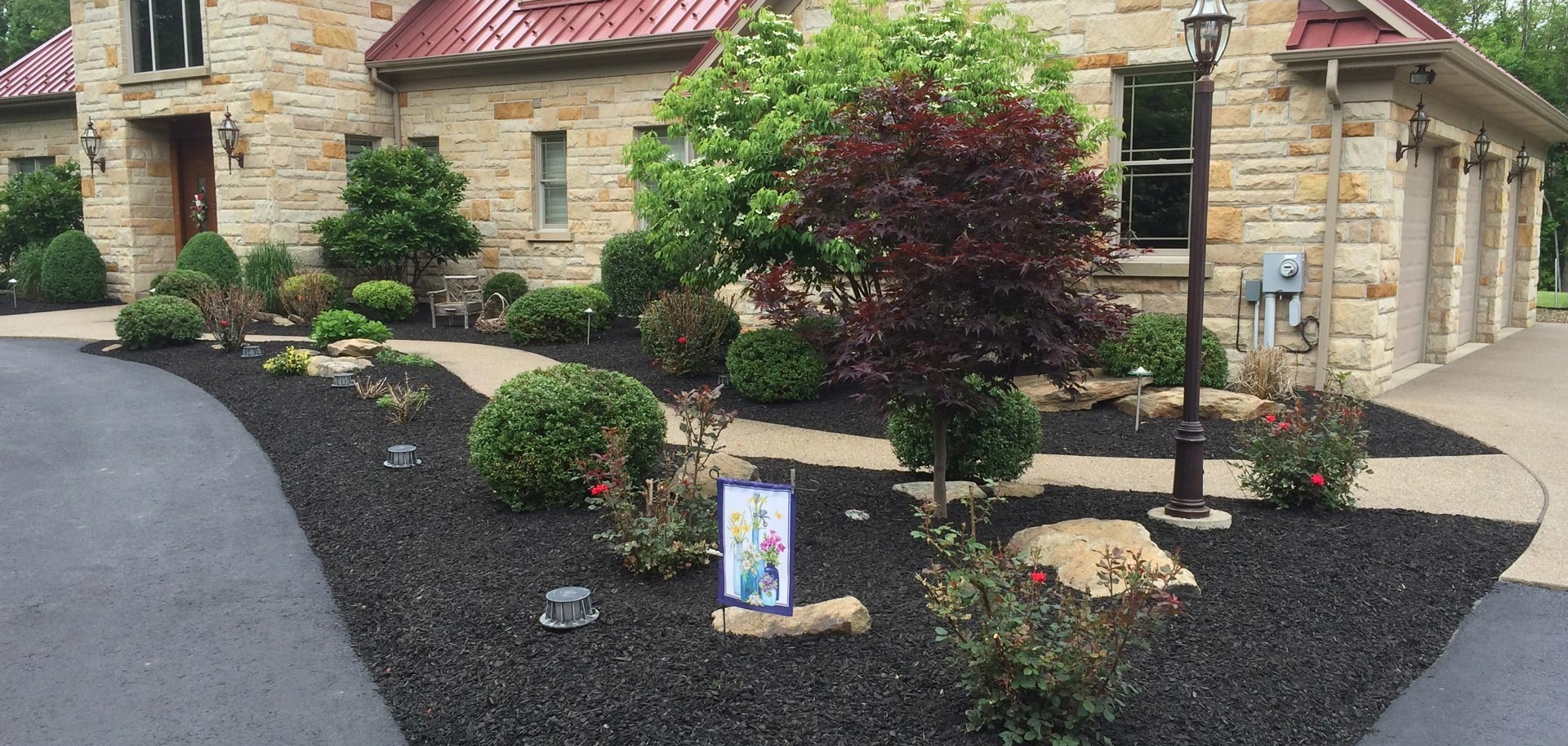 Custom landscape design and installed at a home in McMurray, PA.