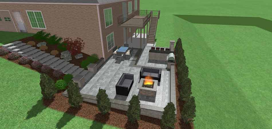 3d rendering of a fire pit that will be built for a customer in Venetia.