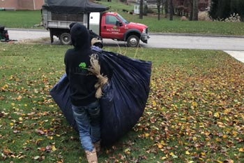 Our team cleaning us leaves that have fallen at a property in McMurray, PA.